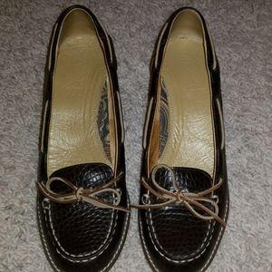 Sperry Black Leather Heels. Sz .9.5